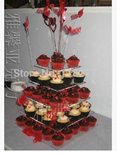 New 2017 Brand 5 tier Square High transparency acrylic wedding cake stand, acrylic cupcake stand