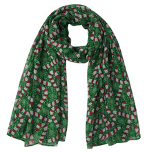 Candy Cane Print Women's Large Size Christmas Scarf Shawl Wrap, Free Shipping(China)