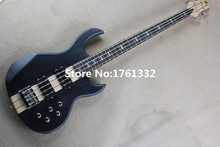 China guitar,Hot sale 24 frets 4 strings black matt electric bass guitar with neck-thru-body,can be changed as request