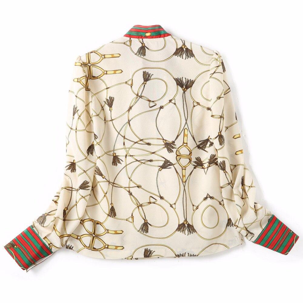 2018 Spring Women Fashion Blouse Bow Ribbon Striped Shirt Black Beige Casual Office Shirts Print Female Big Size Tops Zevrez 25