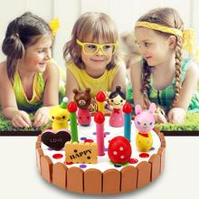 Children Kitchen Toys 2017 Mini Kitchen Wooden Birthday Cake Wood Toy Children Pretend Play Toys for Girls Children(China)