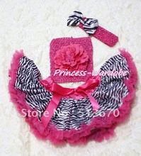Hot Pink Zebra Baby Pettiskirt, Hot Pink Peony Hot Pink Crochet Tube Top, Hot Pink Headband Zebra Bow 3PC Set MACT127