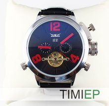 Hot! Mens Big Face Automatic Leather Band Wrist Watch Skeleton Mechanical TIMI Watch(China)