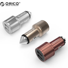 ORICO UCI-2U Aluminum  USB Car Charger as Safety Hammer 2 Ports 5V2.4 MAX Output 15.5W Mini Portable USB Travel Charger