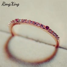 RongXing Fashion Vintage Rose Gold Filled Rings for Women Rose Red & Clear CZ Half Eternity Wedding Band Engagement Ring RR0015