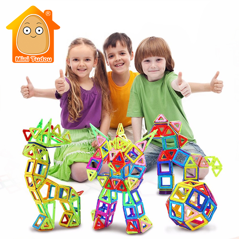 Minitudou 64PCS/Lot Models Building Toy Magnet Blocks 3D DIY Learning Educational Toys Bricks<br>