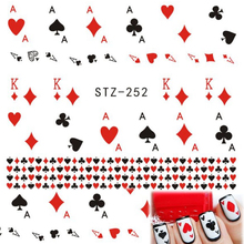 "1 Sheets DIY Cute Playing Card "" A, K"" Red Heart Water Transfer Sticker Decals for Nail Art Temporary Tattoos STZ252(China)"
