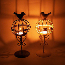 New Design Candle Holder Birdcage Shape Candlestick Lantern Iron Candle Holders Wedding Dinner Table Ornaments T35