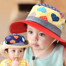 2016 New Baby Bucket Hats Casual Straw Cowboy Kids Summer Hats with Heart Sun Cap for Girls Cute Visors Children's Cap for Beach