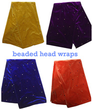 Free shipping by DHL  Beautiful beaded African head wraps plain color soft velvet headties for party  HT532
