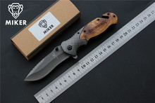 MIKER Browning X50 Tactical Folding Knife Steel Blade Wood Handle Titanium Knives Hunting Fishing Camping Knife EDC Tools