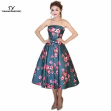 TIANMIYUEDING 2017 Hot Strapless Cheap Prom Dresses Print Flowers Draped Tea Length Vintage Formal Cocktail Party Dress