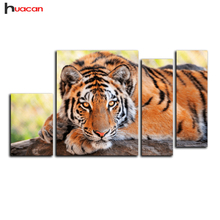 HUACAN 5D Full Diamond Embroidery Cross Stitch Tiger Picture Mosaic Diamond Kit Birthday Gifts diy Diamond Painting Decor