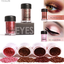 FOCALLURE  Eye Shadow Flash Powder Super Bright Pearl Shining Bright Glitter Loose Powder Pink Diamond Brand Makeup Pigment