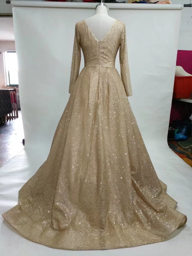 long sleeves gold wedding dress