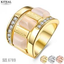 KITEAL Hot sale! Gold color Pink White Yellow size 6 7 8 9 female wedding ring great wall crystal opal women ring Gift for her(China)
