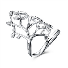 Charmhouse Fashion Silver 925 Jewelry Rings for Women Exquisite Leaf Long Ring Female Accessories Spinner Wedding Rings Gifts
