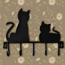 Hot cat design Metal Iron robe hooks with 5 hooks Wall Decor hat coat Clothes Hangers storage rack key holder home organizer