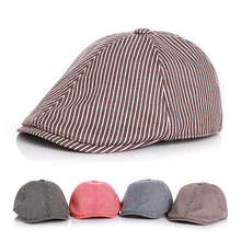 Fashion Striped Baby Beret Hat Adjustable Cotton Kids Cap Baby Accessories for 2-5 Years 1 PC