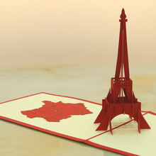 Creative 3D three-dimensional greeting card foreign trade custom Postcard birthday card card love gift of Eiffel Tower KT0268