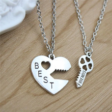 2pc/set Hot Fashion Best Friends Necklaces Heart Key Pendant Necklaces Silver Plated Friendship Long Necklaces For Friend Gift(China)