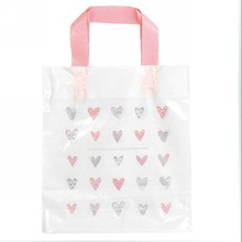50 Pink Heart Plastic Shopping Gift Packing Bag With Handle