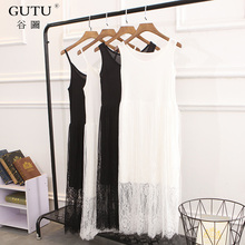 [GUTU] 2018 Summer Spring Fashion New White Black Sleeveless Strapless Stitching Lace Loose Big Size Dress Women R00800(China)