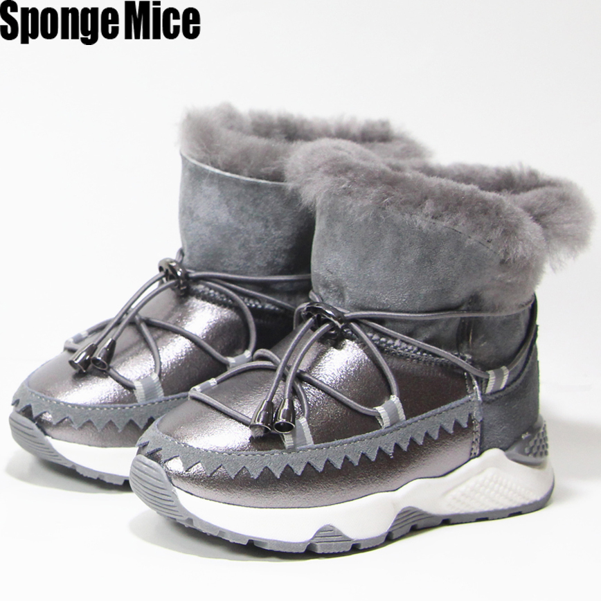 Anti-slippery waterproof girls snow boots kids warm ankle boots Winter children new shoes  Genuine Leather flat rubber z802<br>