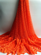 New Arrival 100% Cotton lace fabric nigeria Cord French Chemical Lace Fabric orange african Swiss Voile Lace High Quality