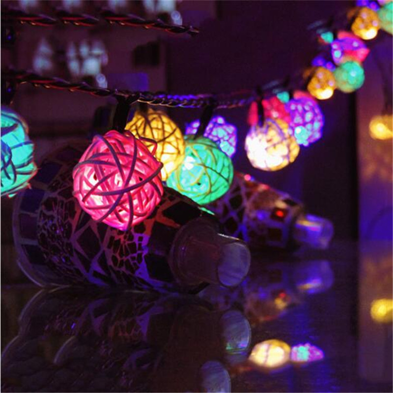 Multicolor 10 led 4CM Rattan Balls led Fairy String Patio Wedding Lights Decoration for Party Holiday Use With Battery box(China (Mainland))