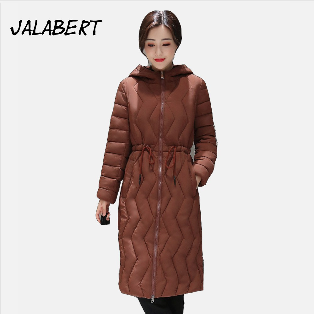 Ukraine Sale 2017 Winter New Cotton Coat Women Zipper Waist Drawstring Was Long Jacket Female Fashion Slim Warm Hooded Parkas Îäåæäà è àêñåññóàðû<br><br>