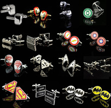Free Shipping Brand New Spiderman Cufflinks Various Superheroes Designs Quality Brass Mading Directly Factory Supply Cuff Links