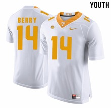 Nike Youth Youth Eric Berry 14 White Grey College Ice Hockey Jerseys Short sleeves for child Size S, M,L,XL(China)