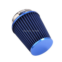 76mm Blue Air Filter Car Universal High Flow Cold Kits car modification intake system Free shipping(China)