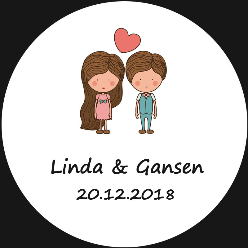 100pcs Circle Wedding Sticker Customized White Sticker Of Bride and Groom  For Wedding Invitation Envelope Gift 13c1a8255972