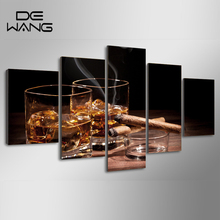 5 Pieces Canvas Prints Pictures Night Wine Cigar Painting Wall Art Bar Home Decor Panels Poster For Living Room Smoke Pictures