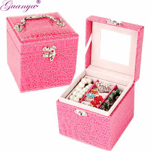 Vintage Style Crocodile pattern leather Three-tier Jewelry Box Multideck Storage Cases High Quality wedding birthday gift B029(China)