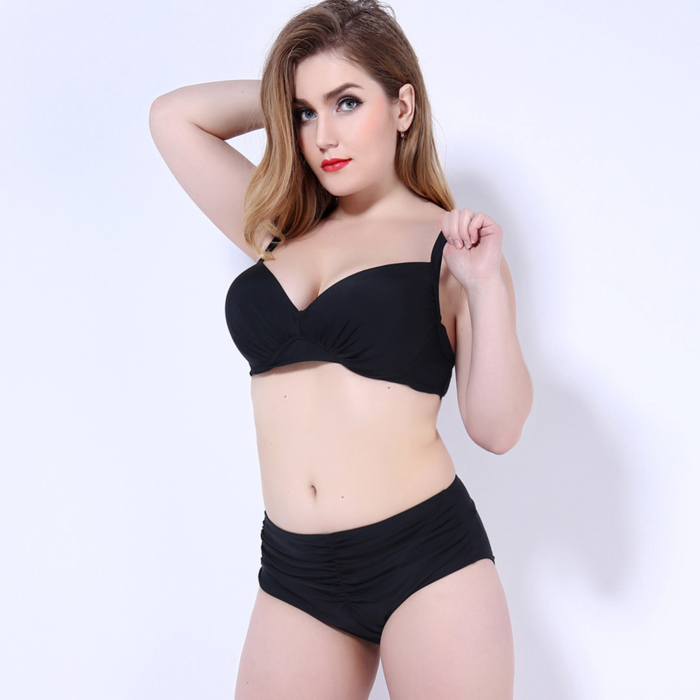 Sexy Young Girl Plus Size Bikini 3XL 4XL 5XL Biquinis Plus Bathing Suit Black Swimsuit Vintage Swimwear For Woman FKS6829<br><br>Aliexpress