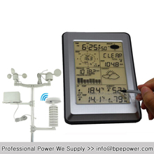 Professional Wireless Weather Station Touch Panel with PC Interface, Transmitter Powered by Solar Panel(China)