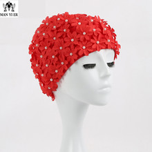 New Brand Women 3D Petals Swimming Caps Fashional Long Hairs Ear Protection Large Hand-sewn bead sand Multi Colors Swim Cap(China)