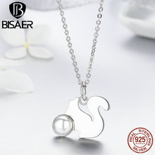 New Collection Genuine 925 Sterling Silver Squirrel Carry Simulated Pearl Pendant Necklaces Fine Authentic Jewelry Gift GXN078