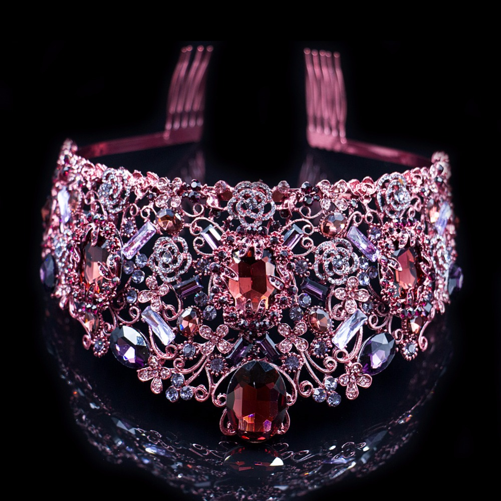 Luxury Purple Crown Crystal Wedding Head Tiaras Bridal Hair Accessories Vintage Crowns Beauty Bridal Vine Crown Women Headpiece(China (Mainland))