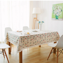 Retro Lace Edge Tablecloth Linen Cotton Christmas Dining Round Table Cloth High Quality Rectangular Table Cover