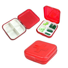 Red Household 4 Container Health Care Medicine Storage Cross Pills Box Case