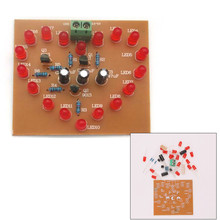 DIY Kit Heart-Shaped LED Flash Light Cycle Flashing Light  Electronic D IY Kit Heart-shaped Lamp DIY Electronic Circuit Board