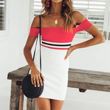 Buy FEITONG Stripe Print Short Dress Women Summer Slash Neck Halter Sexy Dresses 2018 Short Sleeve Evening Party Vestidos Dress #20