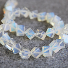 Fashion Jewelry Accessories 8mm Sri Lanka Moonstone Opal Stone Transparent Cube Beads 15inch Semi Finished Necklace
