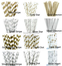 25pcs/lot Metallic Gold Silver Paper Straws for Birthday Wedding Baby Shower decorative Straws Party Supplies