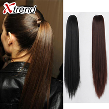20''130g claw clip ponytail hair pieces heat resistant extension queue synthetic weave straight ponytails hair extensions false