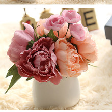 Fresh Artificial Silk Peony A bunch of fake Big Flowers for Wedding Party Office Hotel and Home Decoration buque de noiva EY11(China)